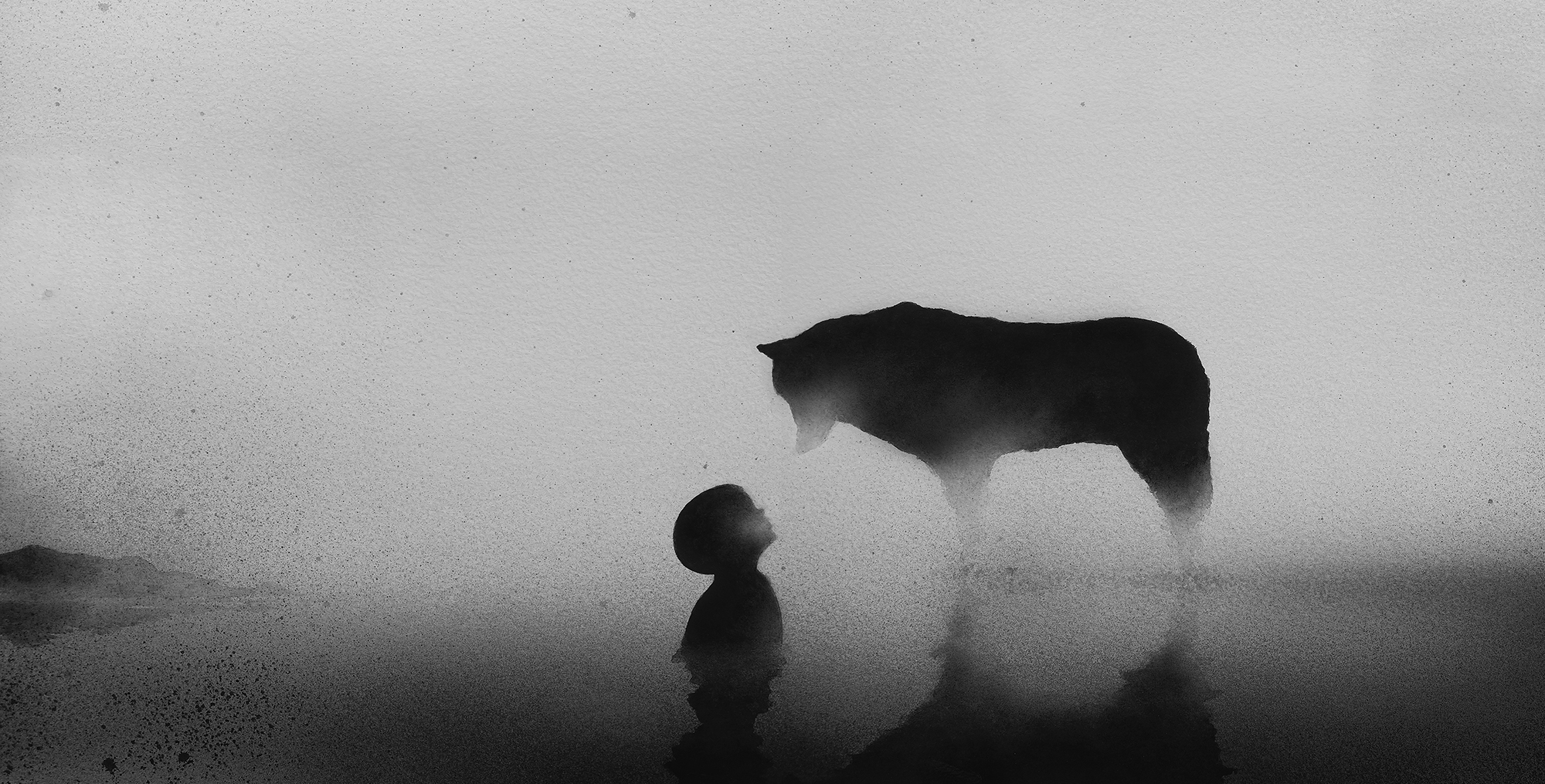 Illustration by Elicia Edijanto of a wolf looking down on a child in silhouette.