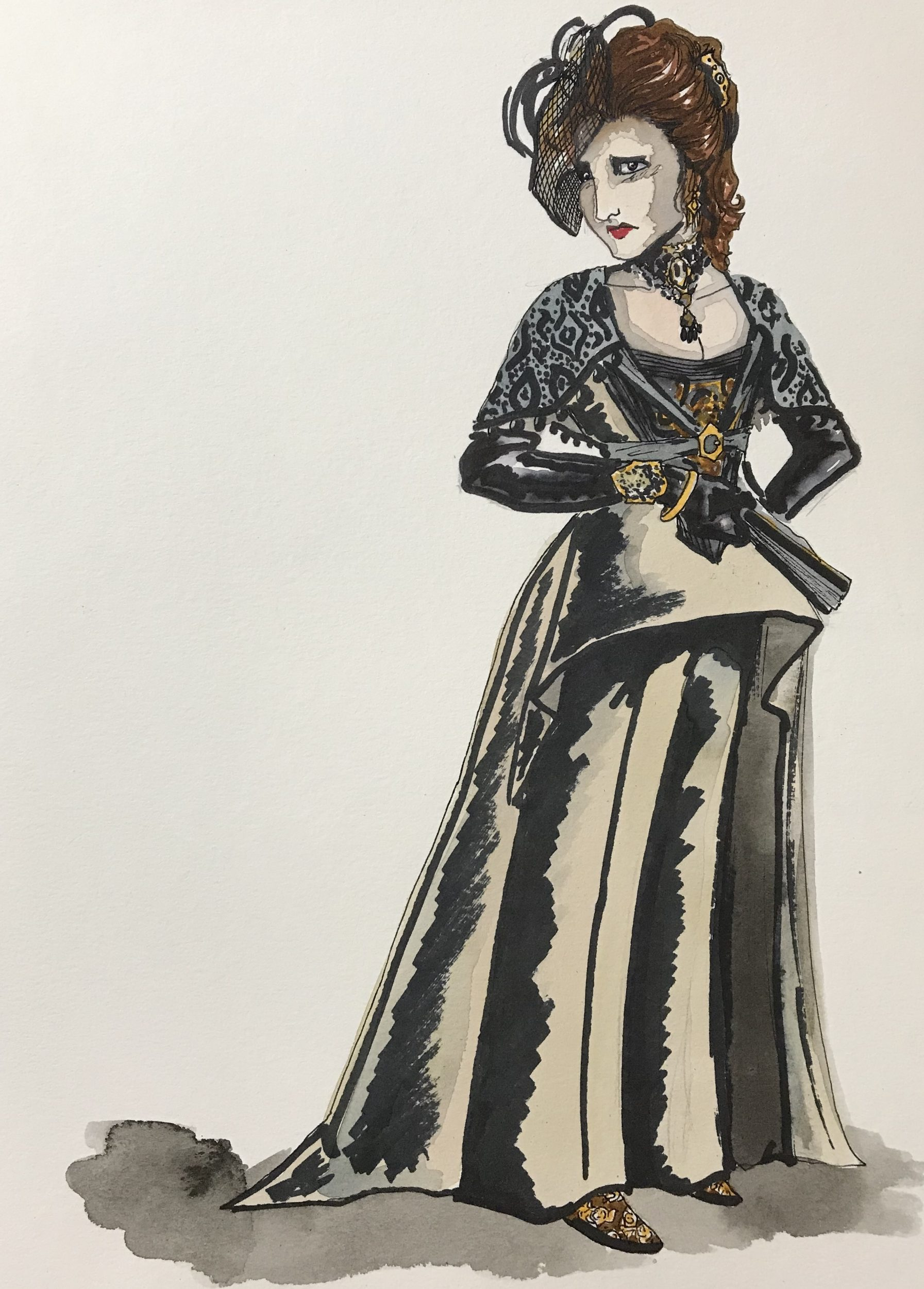 Erik Teague's costume rendering for Donna Elvira in Don Giovanni