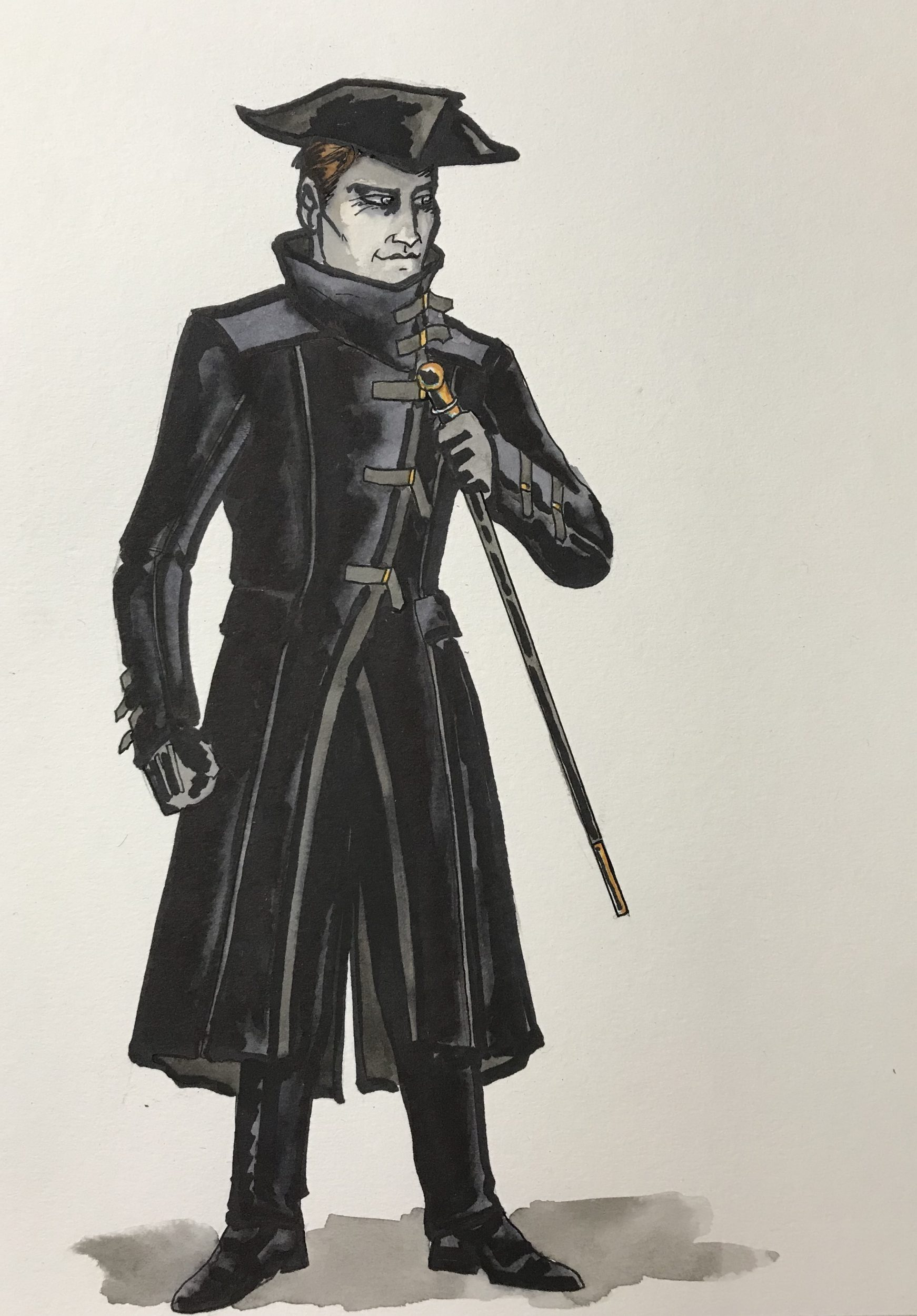 Erik Teague's costume rendering for Don Giovanni
