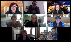 A screenshot from a video conference call, featuring Francesca Zambello in the upper left corner. Seven other staff members are featuring, including Artistic Administrator Amra with her twin babies in the lower right corner.