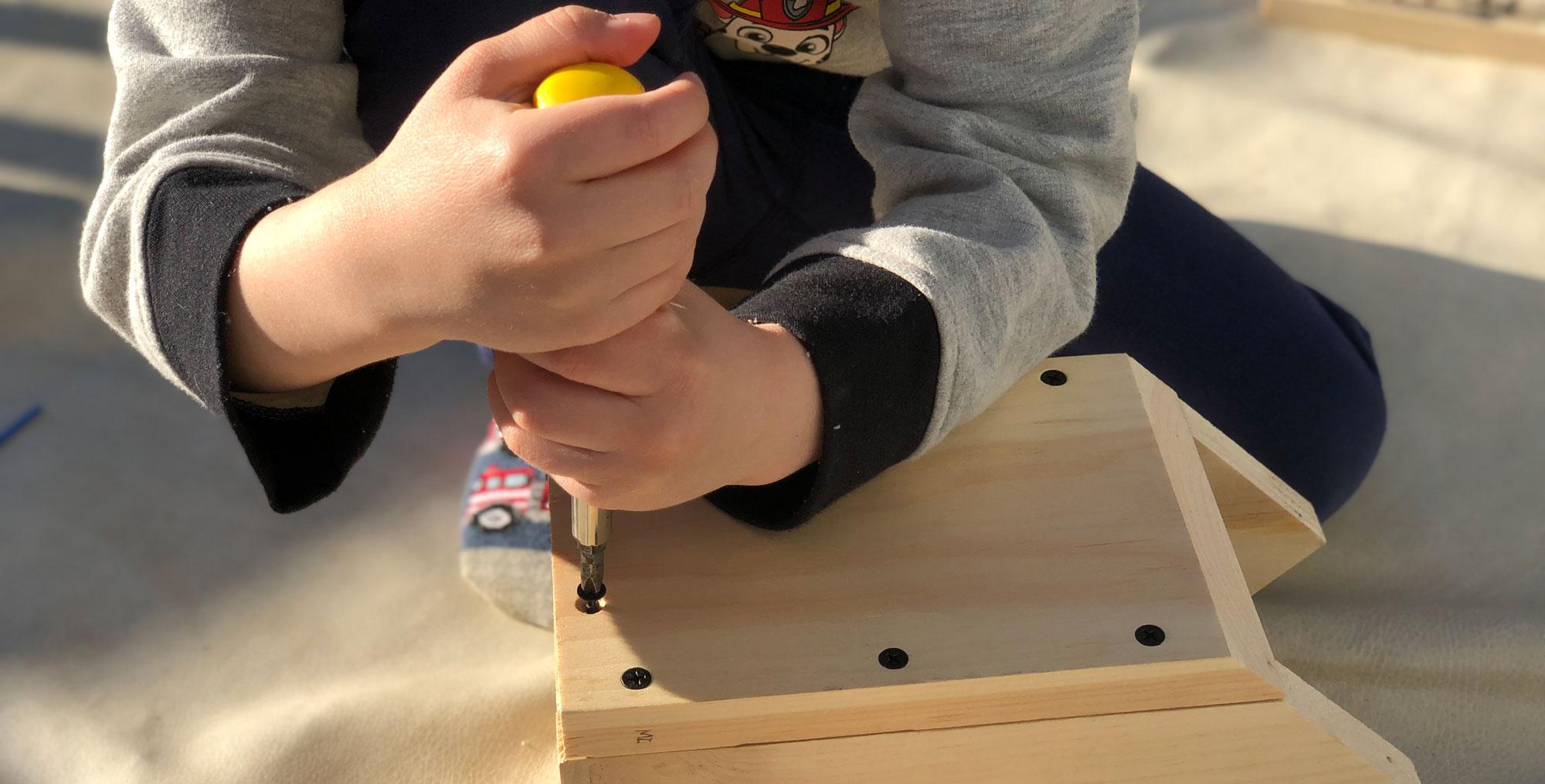 Boy building a bird house