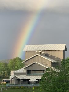 A rainbow over the Alice Busch Opera Theater.