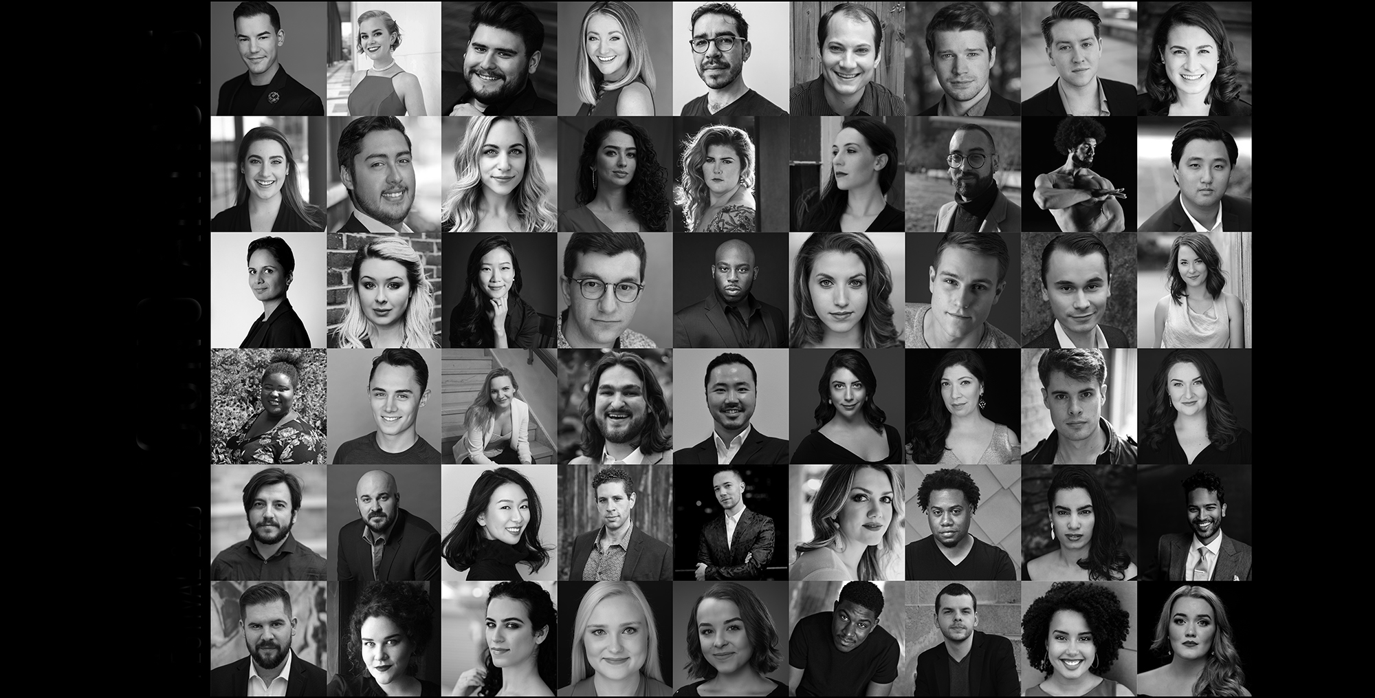 grid of black and white headshots of the 2020 Young Artists