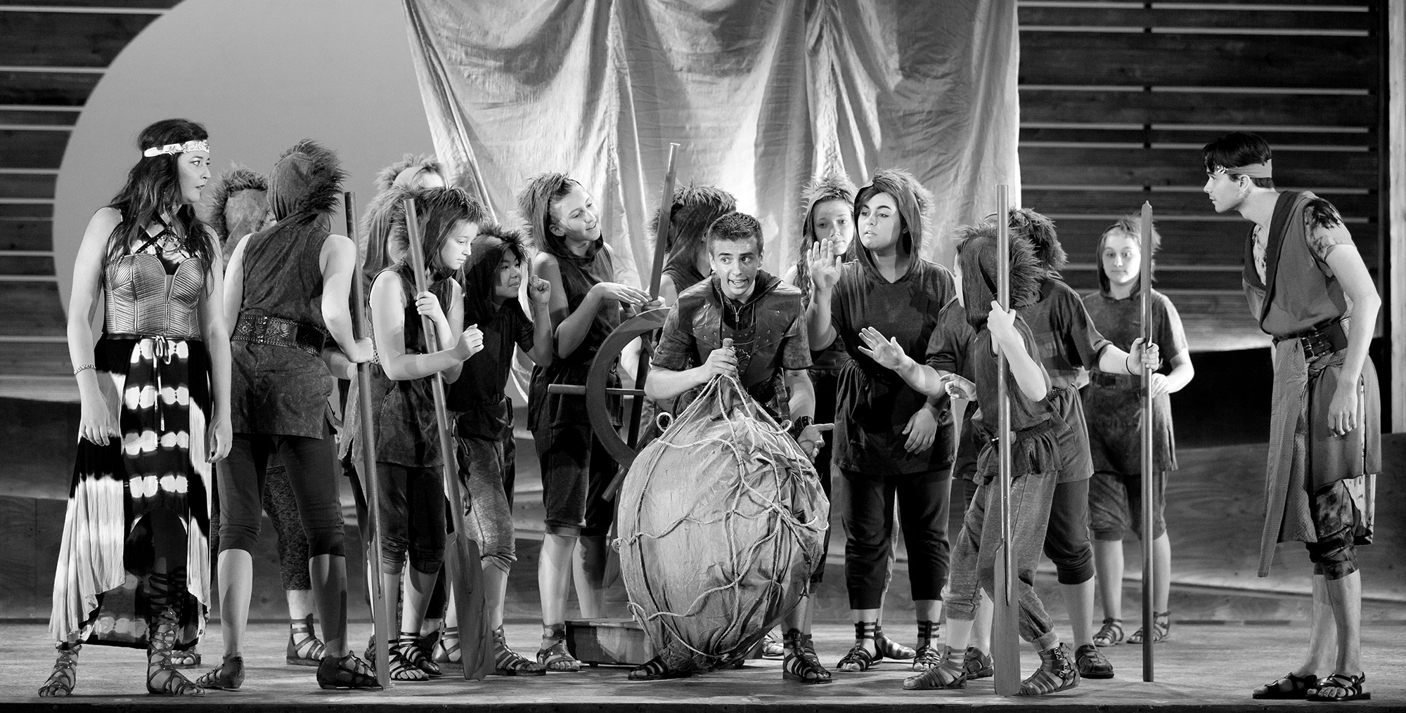Children onstage re-enacting Odysseus' journey | Photo: Karli Cadel