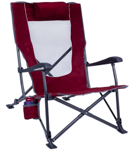 a red reclining camping chair