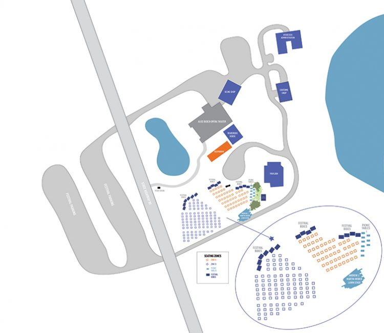 graphic illustration of the Festival property from above depicting where the outdoor stage will be in relation to the theater. The stage will be on the side side of campus.