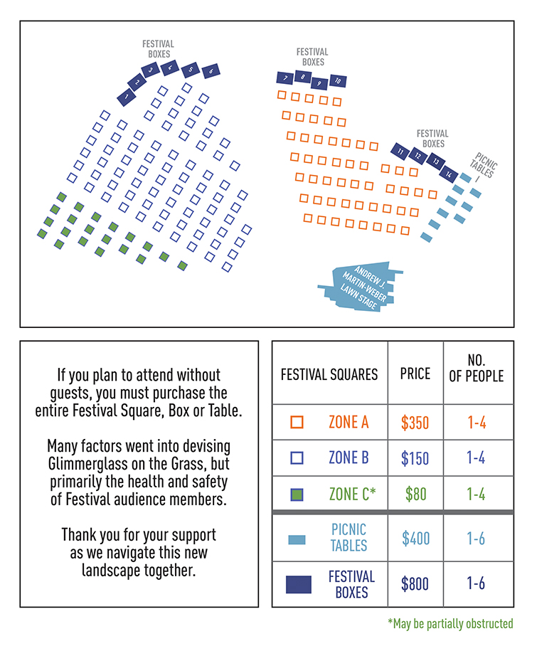 graphic image of the seating chart which lays out different sections of the Festival Lawn. For assistance call the box office at (607) 547-2255.