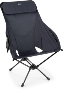 a black folding chair with attached pillow